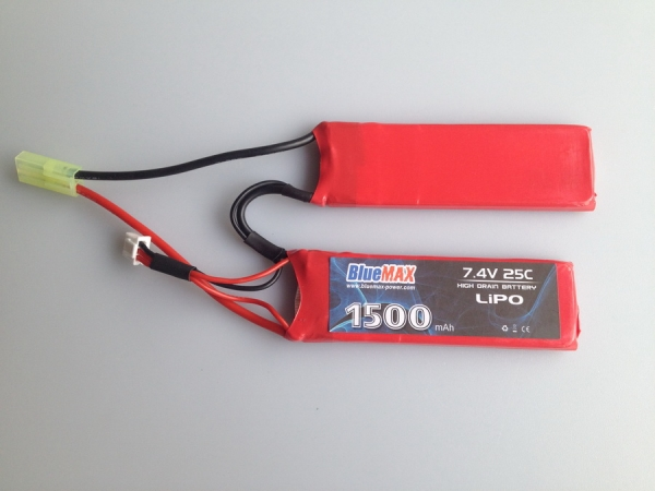 7.4V 1500mAh 25C LiPO Battery Pack Nunchuck Type (Butterfly)