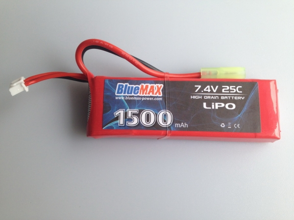 7.4V 1500mAh 25C-50C LiPO Battery Pack Stick Type